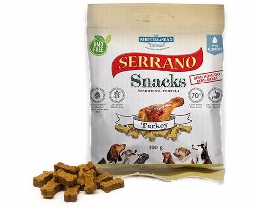Serrano Snack for Dog - Turkey 100g - Mediterranean Natural