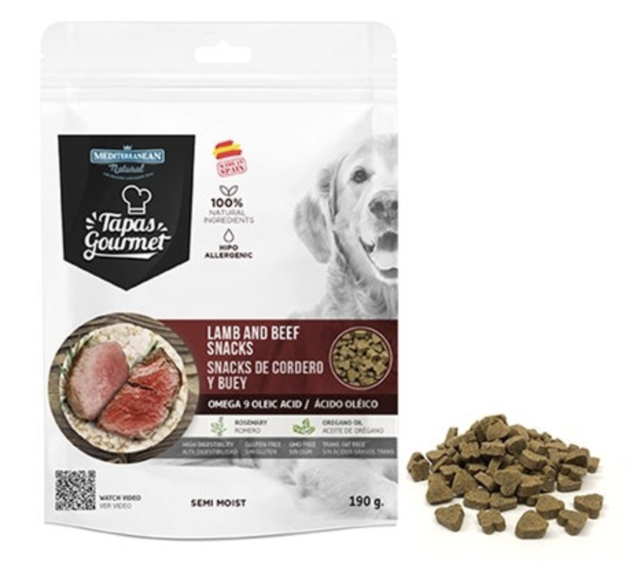Tapas Gourmet Snack for dog Lamb and Beef 190g - Mediterranean Natural